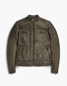 This spring oiled green suede jacket features exposed zips, as well as shoulder and elbow quilting. Shop the Weybridge 2017 suede jacket from Belstaff US. Green Suede Jacket, Belstaff, Black And Brown, Military Jacket, Biker, Leather Jackets, Denim, Shopping, Style