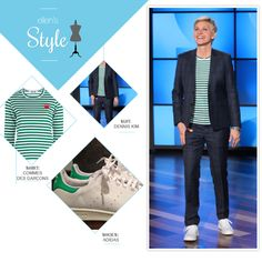 Ellen's Look of the Day: plaid suit, striped shirt, and adidas. Makeup by Heather Currie Beauty