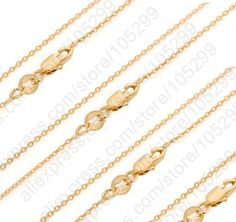 "Discount Wholesale 50PCS GF Jewelry Necklace Set 18K Solid Yellow Gold Filled Rolo Chains+Lobster Clasps For Pendant 16 30""-in Chain Necklaces from Jewelry on Aliexpress.com 