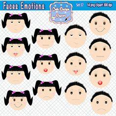 Caras de emociones clipart, emociones niños y niñas, sentimientos, clipart emociones, niño, niña, feliz, triste, sorprendido, enojado de CuteDesignPapers en Etsy