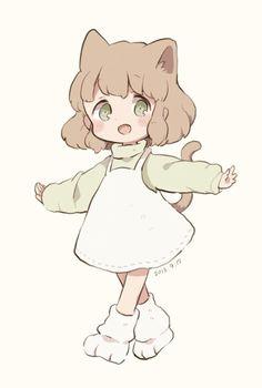 Cat paw slippers for chibi Anime Neko, Cute Anime Chibi, Kawaii Chibi, Kawaii Anime Girl, Kawaii Art, Anime Art Girl, Manga Art, Anime Naruto, Kawaii Nails