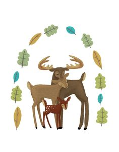 forest deer family by lulufroot/ the Bambi family!!