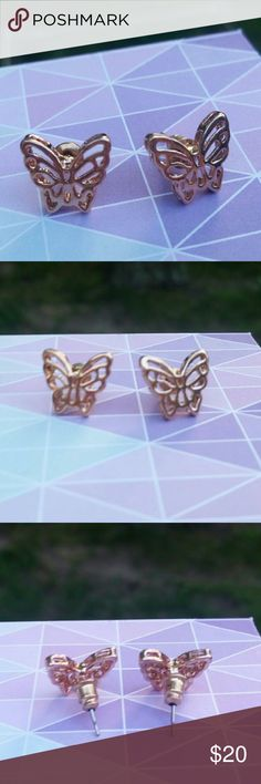 NWOT 9K Rose Gold Filled Butterfly Cutout Earrings Brand new, never worn. Beautiful 9K rose gold filled studs with alloy posts. Perfect condition, no tags. Jewelry Earrings