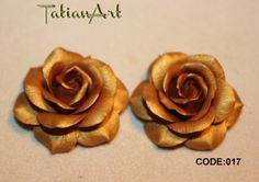 4 pcs Golden Rose Chabochon, Two sizes. polymer clay flowers, flowers beads, golden beads. For manual works. For application.  Code: 017 di FlowerClaySupplies su Etsy