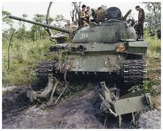 A FAPLA T-55, with the KMT-4 mine ploughs, shot out in 1987.