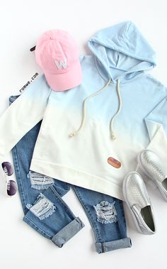 Blue Ombre Hooded Dip Hem Sweatshirt with denim pants and cool slip on flats from romwe.com