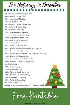 Fun and Wacky Holidays in December {Free Printable} - The Keele Deal Wacky Holidays, December Holidays, Frozen Christmas, Family Christmas, National Cupcake Day, Monkey Crafts, Gingerbread House Kits, Christmas Eve Traditions, Gingerbread Decorations