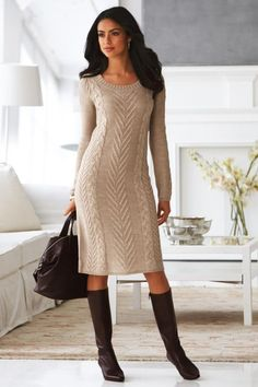 Cable Knit Sweater Dress & Ankle-strap Boot.