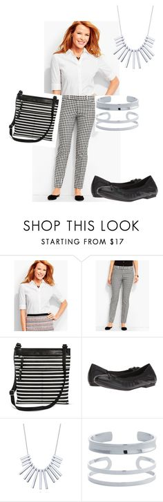 """""""black and white gingham & stripes + shiny silver"""" by hedgeling912 on Polyvore featuring Talbots, Merona, Vionic, BERRICLE, Belk Silverworks and spring2017fashion"""