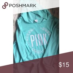 MEDIUM MINT GREEN VICTORIAS PINK HOODIE MEDIUM MINT GREEN VICTORIAS PINK HOODIE, back is plain, still a lot of good use out of this adorable hoodie PINK Victoria's Secret Tops Sweatshirts & Hoodies