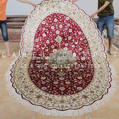 red area oval silk rug loom knotted handmade carpet iran