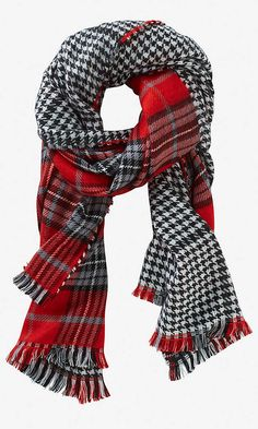 HOUNDSTOOTH PLAID BLANKET SCARF | Express -- Shop online at Express through Zoola and get cash back!