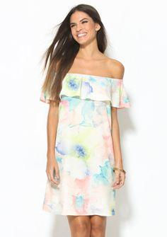 Šaty s volánovým lodičkovým výstřihem a potiskem květin ve vodovkovém stylu #ModinoCZ #modino_style #dress #šaty #offshoulders