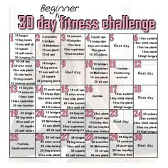 30 day beginner's fitness challenge. It's an all round challenge that targets arms, legs, abs and your bum. This is just one of my personal ones but I thought I'd share it with you all :)