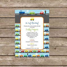 Printable Traffic Cars and Trucks Baby Shower Invitation - Digital File