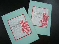 Thinking of You Card Set of 2 Thank You Card by apaperaffaire, $5.25