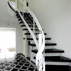 Freitragende Treppe Bolzentreppe Granit Nero Assoluto