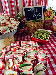 Sandwiches at an apple orchard party! See more party ideas at CatchMyParty.com!