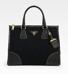 Prada Saffiano Leather Canvas Top Handle Bag ($1595) discovered through ...loveMaegan! Waaant! gorgeous