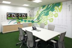 THERE Design  Environmental graphics -interactive fact wall in meeting room.  http://there.com.au/work/Asics_Office