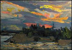 View Sunset, Canoe Lake by Tom Thomson on artnet. Browse upcoming and past auction lots by Tom Thomson. Group Of Seven Art, Group Of Seven Paintings, Emily Carr, Canadian Painters, Canadian Artists, Abstract Landscape, Landscape Paintings, Landscape Mode, Oil Paintings