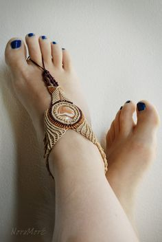 Macrame nickel free body jewellery Hand or foot peace by norumore, £25.00