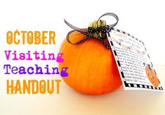 Marci Coombs: October Visiting Teaching Handout with FREE printable tags.