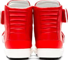 Pierre Hardy: Red Leather Velcroed High-Top Sneakers