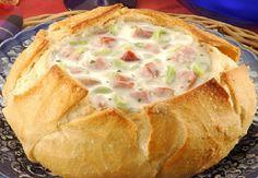 Receita de Sopa no Pão, Receita fácil de sopa diferente, deliciosa, para os dias de frio ou não, para qualquer ocasião, anote a receita.
