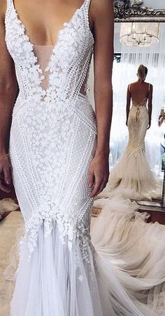 Mermaid Wedding Dress,Appliques Wedding Dresses,Sexy Wedding Dress,White Wedding Dress,Beading Bridal Gowns,V-neck Wedding Dress,Wedding Dresses