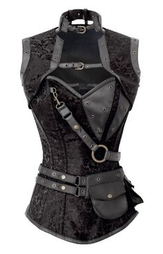 Steampunk Black Brocade Corset with Jacket and Belt Pouch