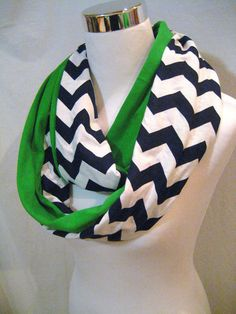 LONG Navy Blue Chevron and Solid Green colorblock Scarf by ChevronScarf