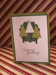 Cute idea to use ribbon for tree trunks - Stampin' Up Christmas Card 2012 Christmas Projects, Christmas Trees, Holiday Crafts, Scrapbook Cards, Scrapbooking, Tree Trunks, Stampin Up Christmas, Xmas Cards, Greeting Cards Handmade