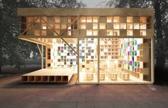 """Three 'book-objects' created by Alexander and Daria Kudmova Butahinoy of the Moscow-based <a href=""""http://ruetemple.ru/"""">Ruetemple Architectural Studio</a> offer ways to store books and save space. Furnishing the outdoor, public space of Park Muzeon and its Bauman Garden, these 'objects' reimagine the book's natural habitat while offering shelter to books and booklovers alike."""