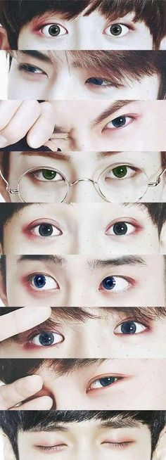 Chanyeol's contacts are grey like my eyes! Also, I may be wrong, since I'm a relatively new Exo-l and I can't really tell them apart by their eyes. Kyungsoo, Baekhyun Chanyeol, Park Chanyeol, Kpop Exo, Exo Bts, Bts And Exo, Got7, Chanbaek, Kaisoo