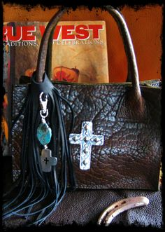 Bohemian Cowgirl Small Brown Bison Leather Tote by LivingFreeByEP, $95.00