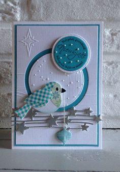 MD Col1392 Eline's birds - MD design folder Winter Landscape Df3421 en Cuttlebug Snowflakes - MD Fulling Stars Cr1294 - Memory box Die Precious Ornamens #WinterLandscape Hand Made Greeting Cards, Making Greeting Cards, Xmas Cards, Holiday Cards, Bird Cards, Butterfly Cards, Homemade Christmas Cards, Homemade Cards, Memories Box