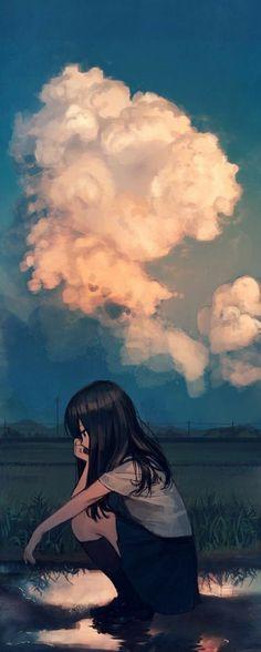 40 Ideas Wallpaper Anime Girl Sky For 2019 Anime Art Girl, Manga Art, Manga Anime, Anime Girls, Sad Anime Girl, Aesthetic Art, Aesthetic Anime, Aesthetic Japan, Anime Love