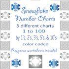 Snowflake Number Charts - 1 to 100 - 5 different color coded & response sheets Math Resources, Math Activities, Counting To 100, 1 To 100, Number Chart, Kindergarten Themes, Teacher Boards, Primary Maths, Math Numbers