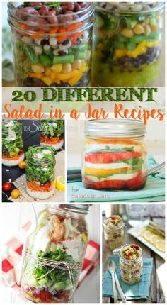 """20 Different Salad in a Jar Recipes, mix up your boring lunch rotation with these fun and yummy salad in a jar recipes! When I used to work a """"normal"""" office job(my anxiety spikes just thinking about it!), bringing lunches to work got boring extremely fast! Even with my stay at home blogging gig it …"""