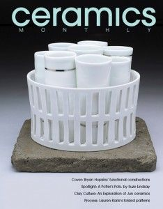 Ceramic Monthly's October 2012 issue, featuring Bryan Hopkins' cup set, 4½ in. (11 cm) in height, wheel-thrown and altered porcelain, fired to cone 11 in a gas kiln, platinum luster, and cast mortar, 2011.
