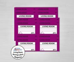 Living Room Moving Labels (Magenta)