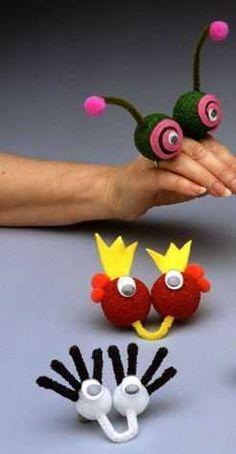 Finger Puppets Craft Idea For Kids – Handwerk und Basteln Kids Crafts, Summer Crafts, Toddler Crafts, Preschool Crafts, Projects For Kids, Diy For Kids, Craft Projects, Arts And Crafts, Creative Crafts