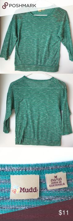 NWOT Mudd Sweater NWOT. Green and grey/silver stripped sweater. Soft with studded shoulders. This shirt is a youth medium (10/12) and is perfect for the colder seasons or for a cute Christmas outfit:) The sleeves are 3/4 by the way. Please feel free to ask me any questions:) Open to offers❗️ Mudd Shirts & Tops Sweaters