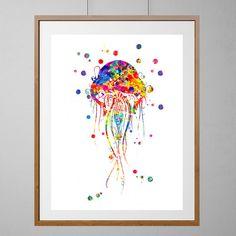 Jellyfish watercolor Print sealife art ocean life by MimiPrints