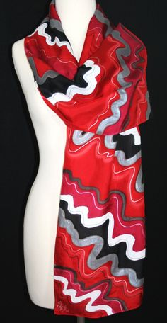 Red Hand Painted Silk Scarf Scarlet Wind. Silk Scarf in Red, Black, Pewter. Size 14x70. Made in Colorado. 100% silk chiffon. MADE TO ORDER.. $57.00, via Etsy.