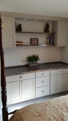 Cabinets Are Unfinished From Home Depot. Painted Grey, Counter Is Just Pine  Ply Stained To Look Like Old Wood.
