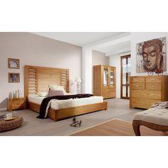 Tête de lit en bois naturel, barreaux horizontaux, 165*3*136, collection Briani