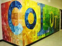 Isn't this awesome? I found it on artsonia - This particular mural was completed with the students sketching self-portraits onto the walls surrounding the art class with the word 'Color' super-imposed over their work. Roughly 900 individual students worked on this huge project, along with teachers, parents and visitors to the school.