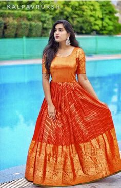 Give a fashionable spin to your unused/old sarees and convert them to pretty dresses. Here are 10 trendy salwar suits you can make from sarees. Indian Gowns Dresses, Indian Fashion Dresses, Indian Designer Outfits, Designer Dresses, Saree Gown, Lehnga Dress, Lehenga, Long Gown Design, Silk Dress Design
